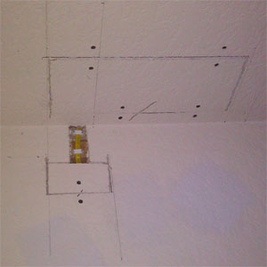 Patched drywall on ceiling